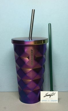 Starbucks IRIDESCENT Stainless Steel Studded Cold Cup 16oz. W/BONUS SS Straw NEW #Starbucks