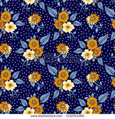 floral with Polka Dot pattern navy background Fabric Print Design, Motif Design, Surface Pattern Design, Textile Design, Flower Background Wallpaper, Flower Backgrounds, Navy Background, Batik Pattern, Pattern Art