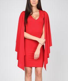 a1a5916d0851 Carla by Rozarancio Red Sheath Cape Dress