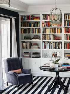 Like the white built ins and the idea of a small round table and wing chair