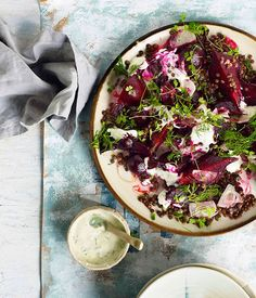 Beetroot salad with lentils and yoghurt dressing - Gourmet Traveller