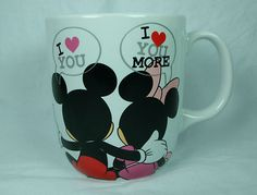 Disney Store Mug Coffee Cup Mickey Minnie I Love You More Valentines Gift Hearts on ebay