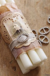 Love the idea of bundling candles with vintage items.  These would look great if you grunged the candles!