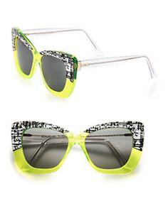 d2dacbdaf3fd CUTLER AND GROSS - 53MM Print  amp  Neon Cat s-Eye Sunglasses Sunnies  Sunglasses