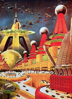 FRANK R PAUL - City of the Future - interior art - April 1942 Amazing Stories