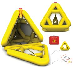 Life Triangle is a life raft featuring a multi-directional triangular shape so that it doesn't capsize easily. Apparently the triangular structure prevents the raft from turning over, a fear often associated with smaller rafts. The boat involves automatic inflation and features a movable signal light containing GPS technology.