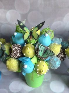 Lime, blue, gray cake pop bouquet with butterflies