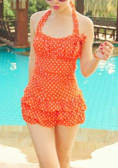 Stylish Halter Neck Backless Polka Dot Flounce One-Piece Swimsuit For Women. $22.39 from Rosegal.com