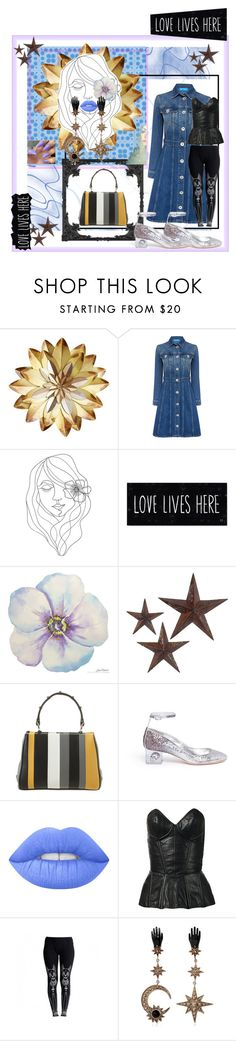 """""""💙Love lives here 💙 Pass it on!"""" by maijah ❤ liked on Polyvore featuring M.i.h Jeans, PBteen, jcp, Prada, Alexander McQueen, Lime Crime, Fleur du Mal, Killstar and Roberto Cavalli"""