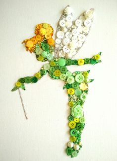 Handmade Tinkerbell Inspired Embellishment Canvas, made from buttons, gems, flowers and 195 Swarovski Crystals Crafts To Do, Bead Crafts, Jewelry Crafts, Arts And Crafts, Paper Crafts, Canvas Crafts, Disney Button Art, Disney Buttons, Disney Diy