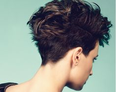 Dark brunette hair colour, pixie crop created by Great Lengths hair extensions