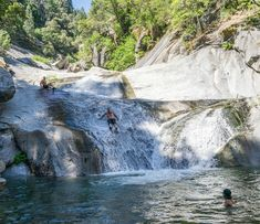 rock creek swimming hole, Plumas County, California — by Donny Barnec. A nice swimming hole that features a natural waterslide and cliff jumping.
