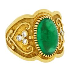 1stdibs - Contemporary Cabochon Emerald & Diamond Gold Ring explore items from 1,700  global dealers at 1stdibs.com