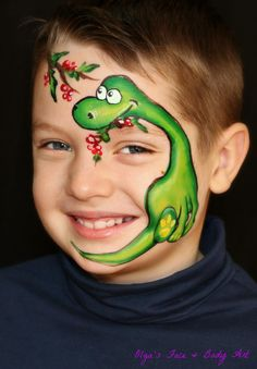 35 Cute Animals Face Painting Ideas For Kids - Art Dinosaur Face Painting, Face Painting For Boys, Face Painting Designs, Body Painting, Animal Face Paintings, Animal Faces, The Face, Face And Body, Christmas Face Painting
