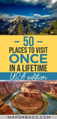 50 Epic US Travel Destinations Check out the top 50 places to visit in the United States you haven't thought yet. Including lots of road trips, beautiful beaches, pulsating cities, adventures with kid Us Travel Destinations, Best Places To Travel, Amazing Destinations, Cool Places To Visit, Vacation Places In Usa, Best States To Visit, Bucket List Destinations, Mexico Vacation, Cruise Vacation