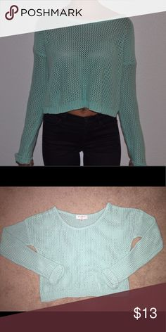 Cropped Turquoise Crocheted Sweater Great condition, teal, turquoise, knitted, Crocheted, urban outfitters, lightweight, casual, can wear in cold or warm weather, bright color, fitted sleeves Urban Outfitters Sweaters Crew & Scoop Necks