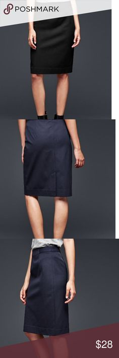 NWT GAP tailored pencil skirt Sits at the waist. Slim, tailored pencil silhouette. 95% cotton 5% elastane. First three photos are exact item from web site. GAP Skirts