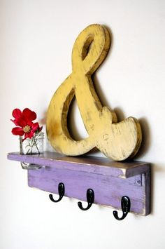 lavender shelf and cute yellow ampersand