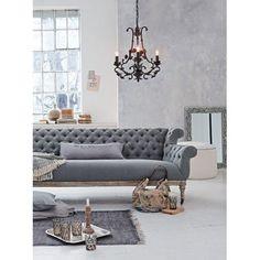 Sofa, 3-Sitzer, Chesterfield-Stil, Gestell Eiche massiv/Bezug Baumwollmischgewebe Vorderansicht