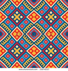 Colorful seamless ethnic pattern background in red,  blue, red, yellow colors. Vector file editable, scalable and easy color change. Can use...