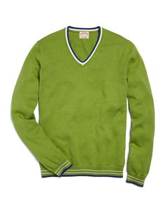 Supima® Tipped V-Neck Sweater | Brooks Brothers