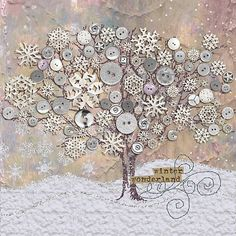 Winter Wonderland…nice button art…just for inspiration Winter Wonderland…nice butt Arts And Crafts, Paper Crafts, Button Picture, Creation Deco, Fabric Art, Textile Art, Altered Art, Holiday Crafts, July Crafts