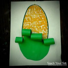 Corn activity for vegetable theme – Cut out a green oval and glue the bottom 1/3 onto the white oval. Child can dab a Q-tip in yellow paint and then onto the white oval, to make the corn.