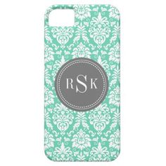 Stylish Monogram Trio Mint Damask Case For iPhone 5/5S.  Chic, girly, trendy white damask pattern on a mint green background with a dark grey nameplate featuring a triple monogram. Easy to customize first, last and middle initials on a feminine modern pattern design.