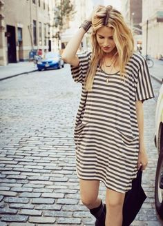 striped dress fashion women tumblr style streetstyle blond summer boots bag