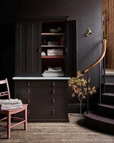 Fitted cabinetry doesn't just belong in the kitchen. This is our Suffolk kitchen collection, but it's just as at home in this hallway as a… Dark Painted Walls, Dark Walls, Dark Blue Bedrooms, Dark Paint Colors, Hallway Storage, Inspiration Wall, Kitchen Inspiration, Kitchen Ideas, Dark Interiors