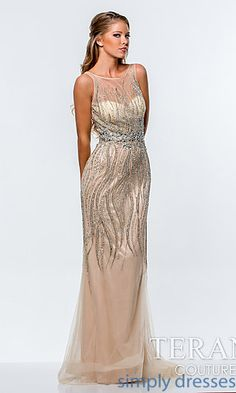 Long Beaded Illusion Sweetheart Dress by Terani at SimplyDresses.com
