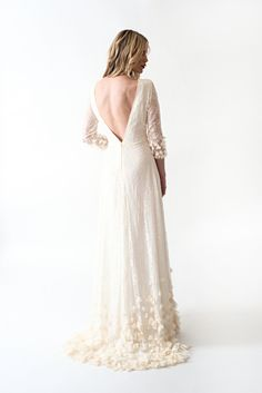 Lace Boho Wedding Dress with Sleeves Open Back and by AnyaDionne