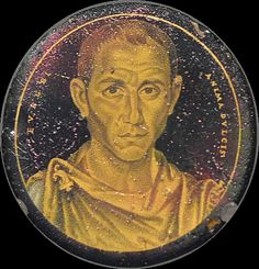 Roman gold glass portrait of a man, 3rd century A.D. Inscribed in Latin EUSEBI…