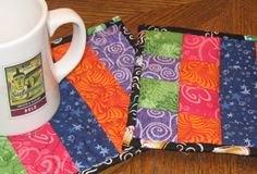 tutorial to make cute mug rugs with scraps. weallsew.com is a good idea bank.