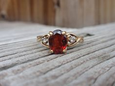 10k Garnet and Diamond Ring oval by LuceesTreasureChest on Etsy