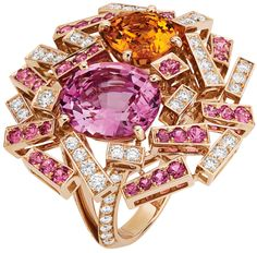 Chaumet Le Grand Frisson ring in pink gold paved with diamonds and pink spinels, centre pink spinel and spessartite garnet