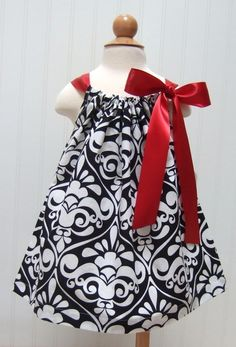 Just relisted!   Black and White Damask Pillowcase Dress with by threemunchkins, $21.99