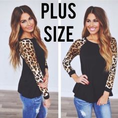 """5RatingsGorgeous Leopard Long Sleeve Top Made in USA Color available: Black Size available: ONE XL ONE 2XL TWO 3XL Material: Content: 64% POLYESTER. 33% RAYON. Note: Due to the difference between different monitors, the actual color of the item may be slightly different. Item's measured by hand, could be 1"""" different. Bundle Discount.  NO TRADE M's Boutique Tops Tees - Long Sleeve"""