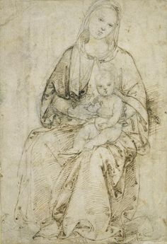 Raphael (Raffaello Sanzio) (1483–1520), Seated Madonna with Child, ca. 1500/02. Pen and brown ink, over black chalk and stylus (figure of Christ, head and upper body of Mary), on grey smudged paper, 213 × 145 mm Städel Museum, Frankfurt am Main. Photo: Städel Museum – ARTOTHEK