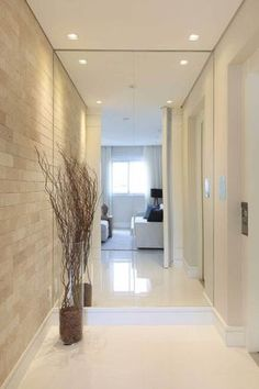 35 marvelous mirror wall home decor ideas that inspired you 24 Interior Design Living Room, Living Room Designs, Corridor Design, Plafond Design, False Ceiling Design, Hallway Decorating, Home And Living, Interior And Exterior, Luxury Homes