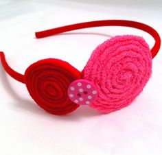 Girl's Headband with Pink and Red Rosettes by LaurensLovelyDesigns,
