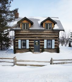 Log Cabin winter ski lodge cabin Collingwood, Ontario Winter Cottages | House & Home