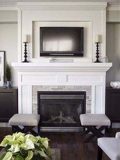 So, the hubs and I have been discussing TVs and fireplaces lately. It's actually not my first choice to have the TV over the fireplace, but ...