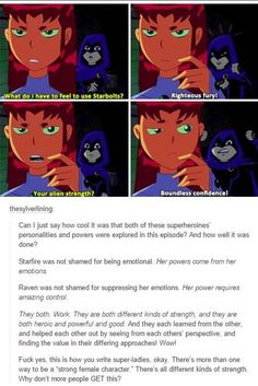In this episode Raven and Starfire swap bodies because of the Puppet Master, so they each have to teach each other how to use their powers