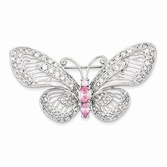 Sterling Silver Pink and Clear CZ Butterfly Pin ** Find out more details @…