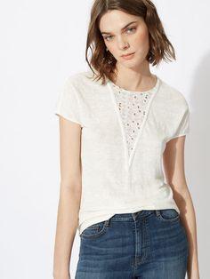 Tee-shirt en lin et dentelle - Tee-Shirts - E15 - Maje.com