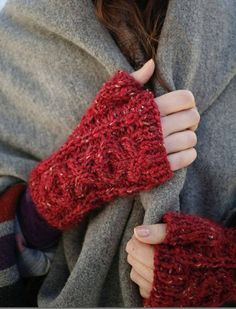 Purl on Pearl. The Little Match Girl, Winter's Tale, Red And Grey, Black, Fingerless Gloves, Arm Warmers, Color Splash, Mittens, Knit Crochet