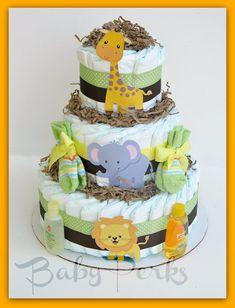 Gender Neutral Jungle Diaper cake Safari Diaper cake  by MsPerks, $69.00