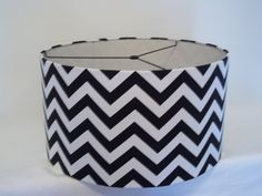 Lamp Shade in black and white chevron print / Drum lampshade for pendant light or any lamp - too expensive, make one similar to this from white drum