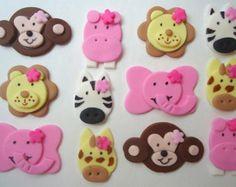 Edible Cupcake Toppers - Girl Safari, Jungle, Zoo Animal Fondant Cupcake Decorations